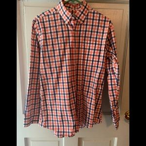 Southern tide pink blue white plaid shirt S